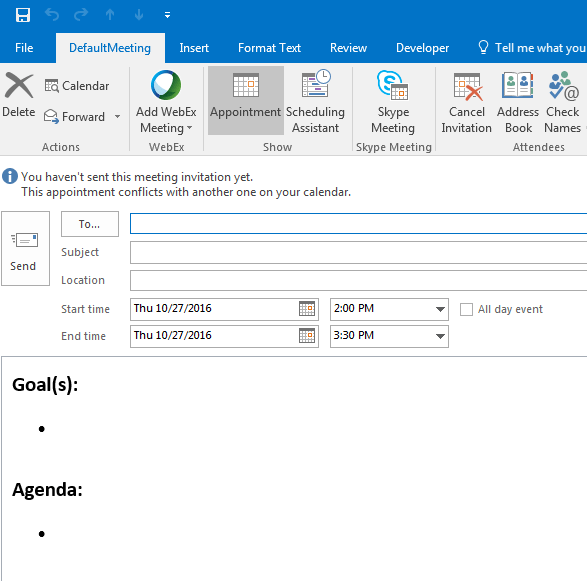 outlook calendar templates