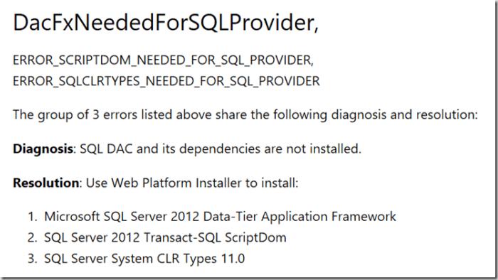 Error Code: ERROR_DACFX_NEEDED_FOR_SQL_PROVIDER – DOTNET