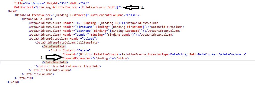 WPF Self and AncestorType Relativebinding in DataGrid • Dot