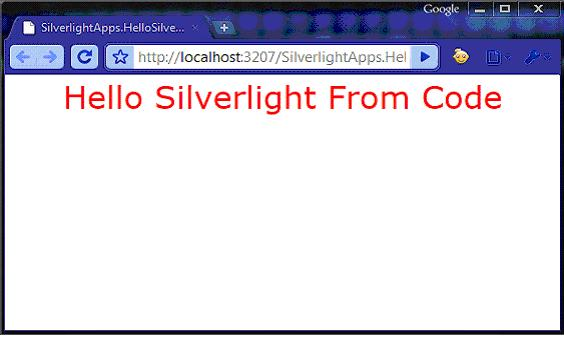 Hello Silverlight from Code in Browser