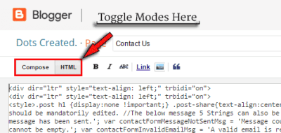 toggle HTML mode from Compose mode in blogger. Edit HTML in Blogger