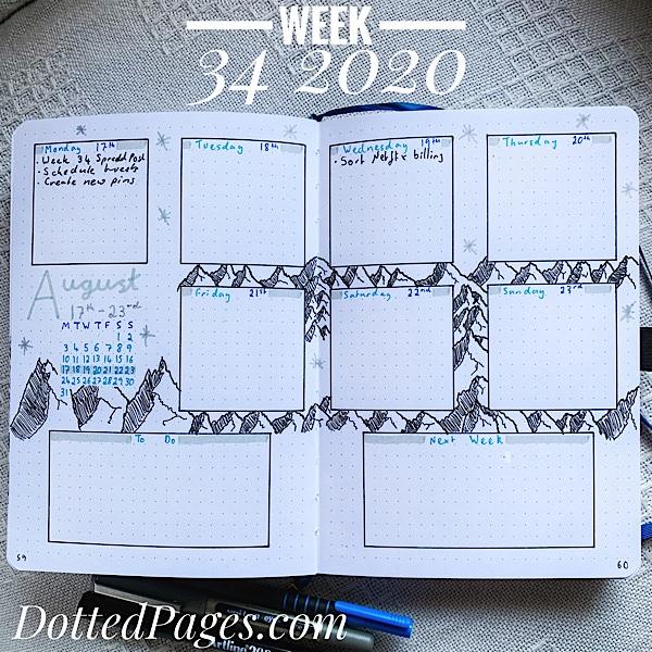 Week 34 2020 Bullet Journal Spread