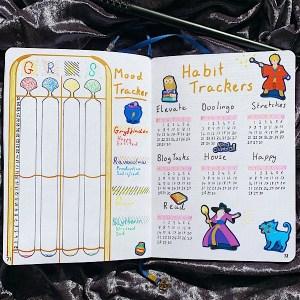 September 2020 Bullet Journal Setup- Mood and Habit Trackers