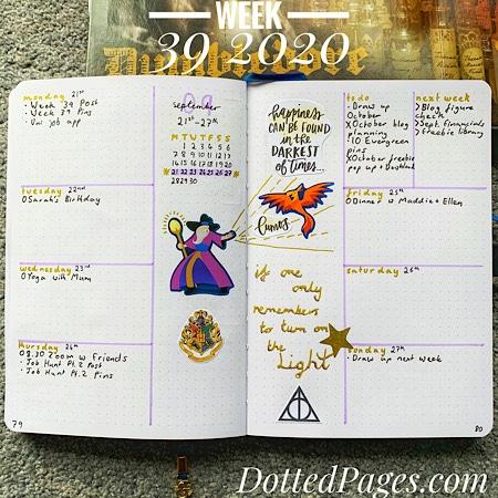 Week 39 2020 Bullet Journal Spread