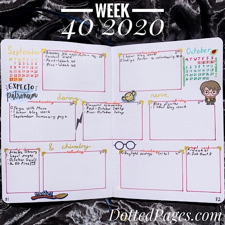 Week 40 2020 Bullet Journal Spread