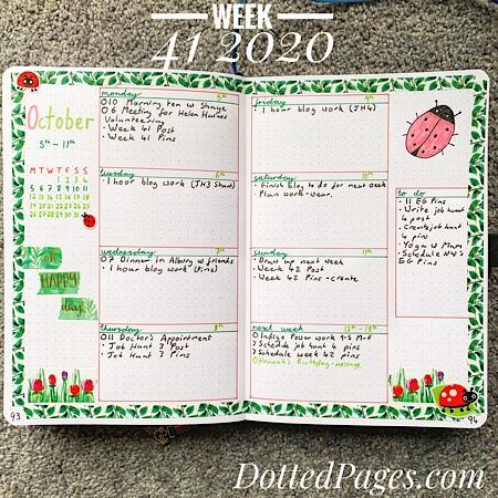 Week 41 2020 Bullet Journal Setup