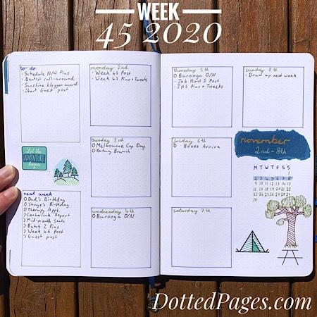 Week 45 2020 Bullet Journal Spread