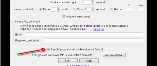 Screenshot di nascosto al PC con Spy Photorgapher