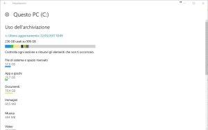 Uso archiviazione windows 10