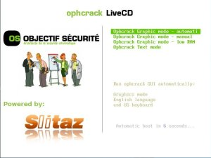 ophcrack livecd boot