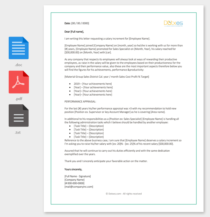 Salary-Increase-Recommendation-Letter-Template Salary Adjustment Letter Template on time card, increase worksheet, free excel, analysis report, history example, certificate online, grade scale, cost analysis, payment voucher, payment receipt, authorization form, payment slip,