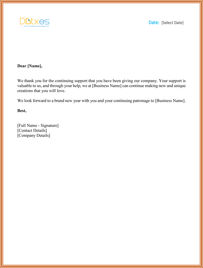 customer thank you letter