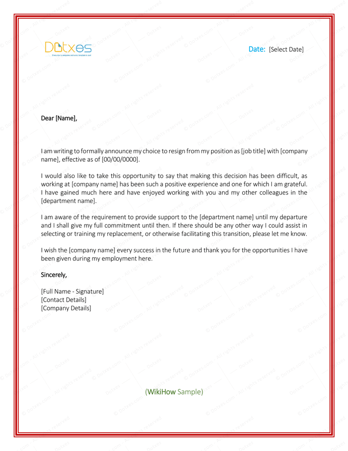 write professional letter template