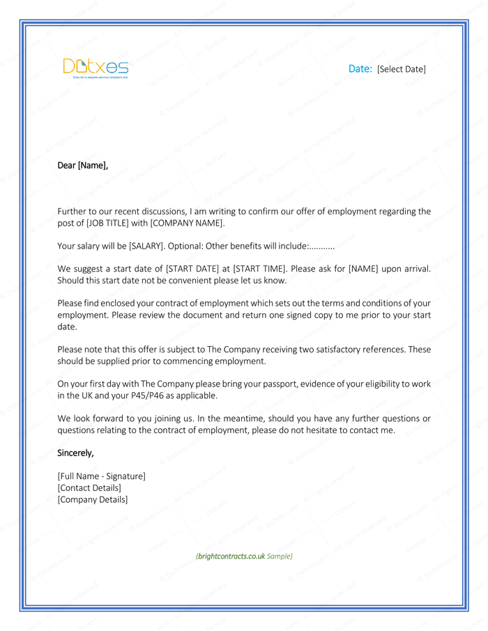 job offer letter template uk offer letter free formats and sample for 20620 | Job Offer Letter Template for Uk Page 1