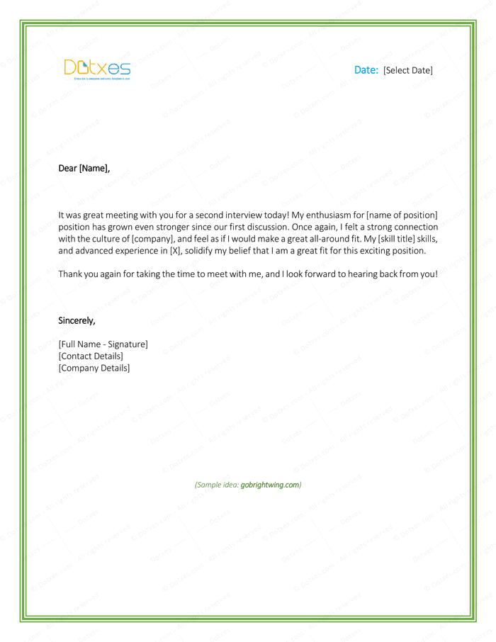 sample thank you letter after interview 5 plus best templates dotxes