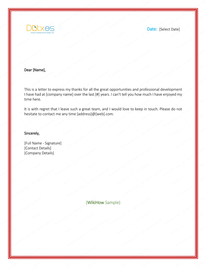 thank you letter to employer when leaving