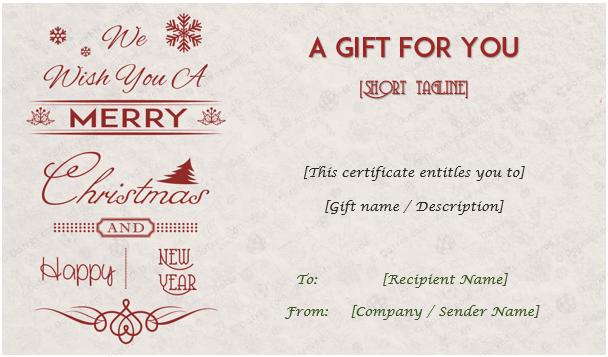Christmas Holiday Gift Card Template