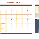 October 2017 Calendar with Holidays