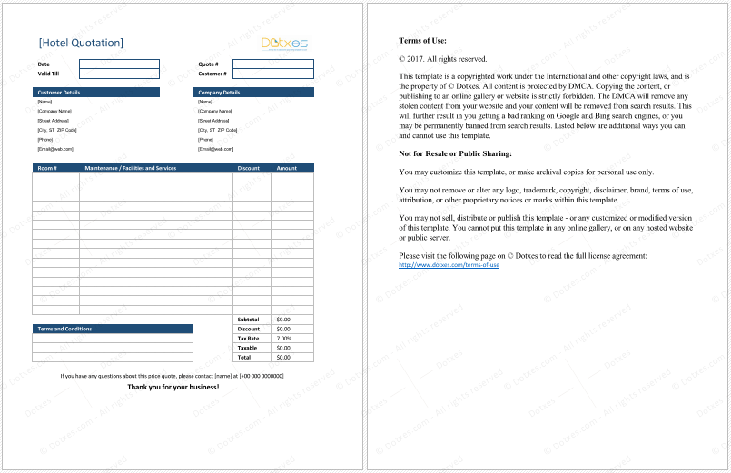 Hotel Quotation Template