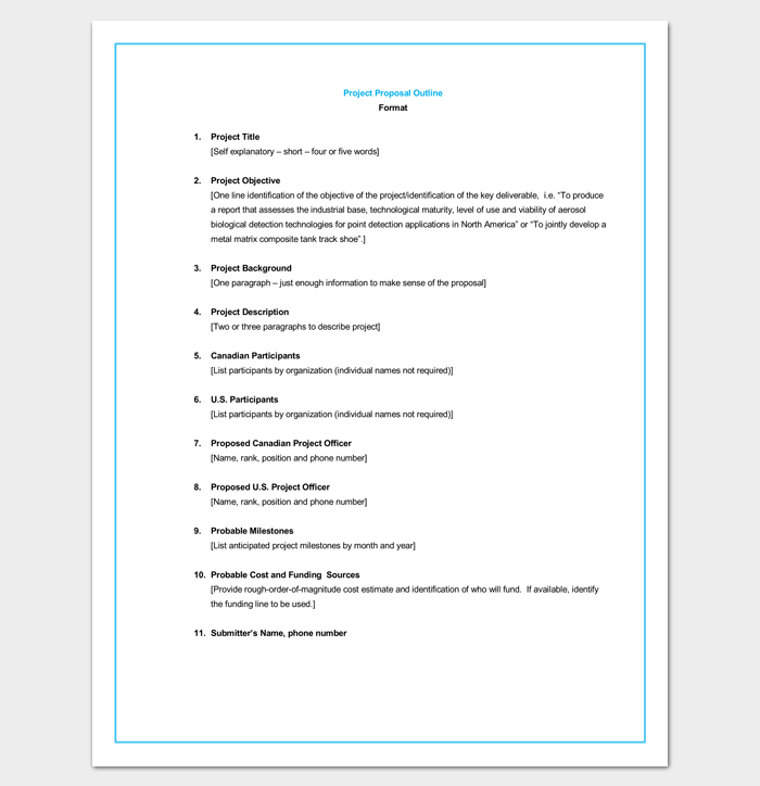 Project Proposal Outline Template For Word
