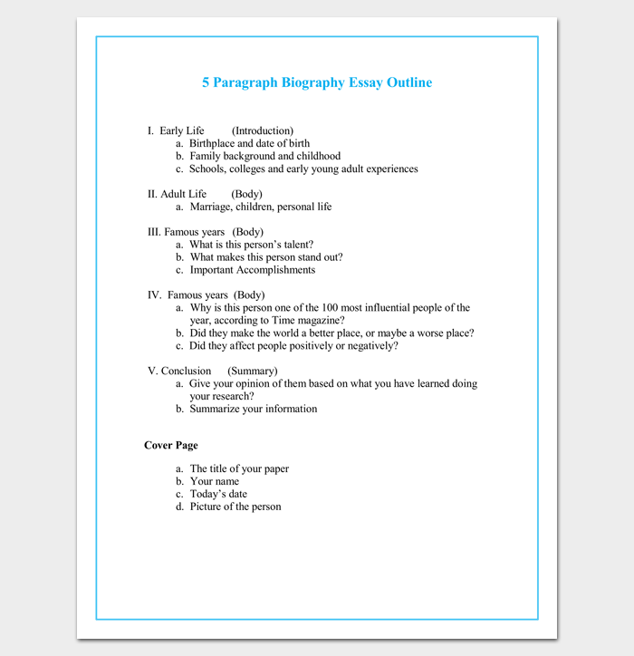 5 Paragraph Autobiography Outline Word Template