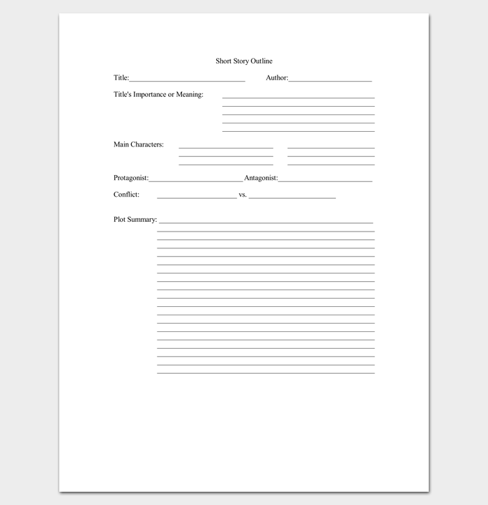 Short Story Outline Template 7 Worksheets For Word Pdf Format