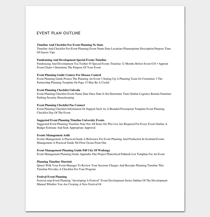 event outline template 9 samples examples for pdf format