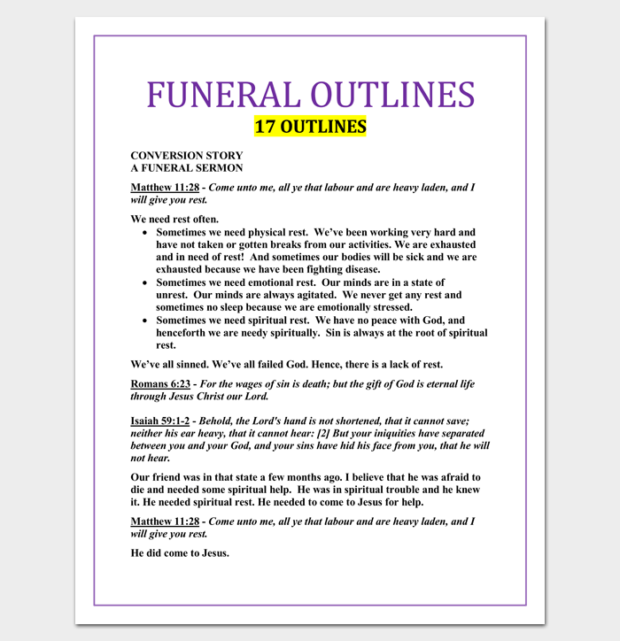 Funeral Sermon Outline Template For Word