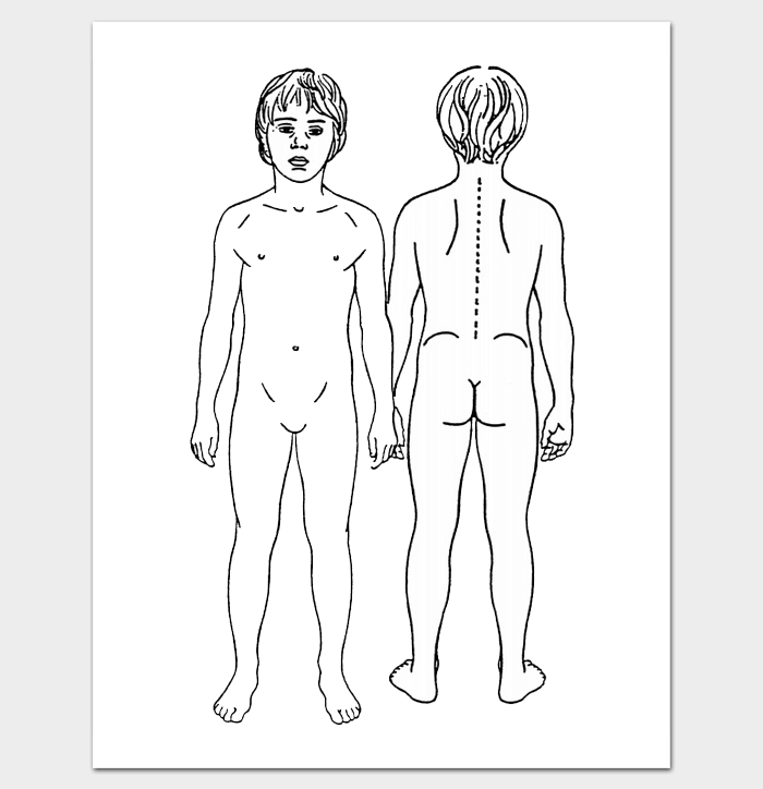 Printable Outline for Male Body (Front and Back)