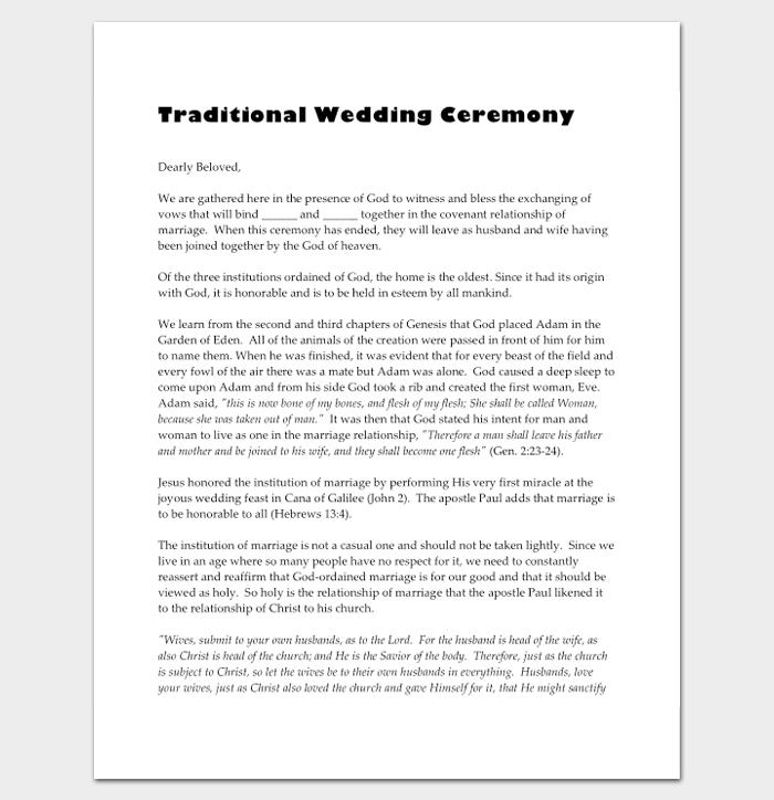 Non Religious Wedding Ceremony Program