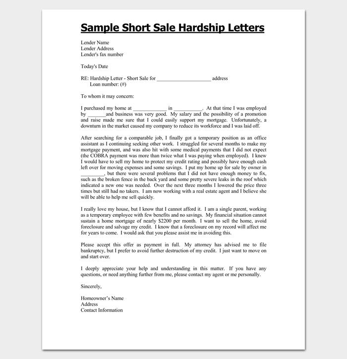Short Sale Hardship Letter Template 1