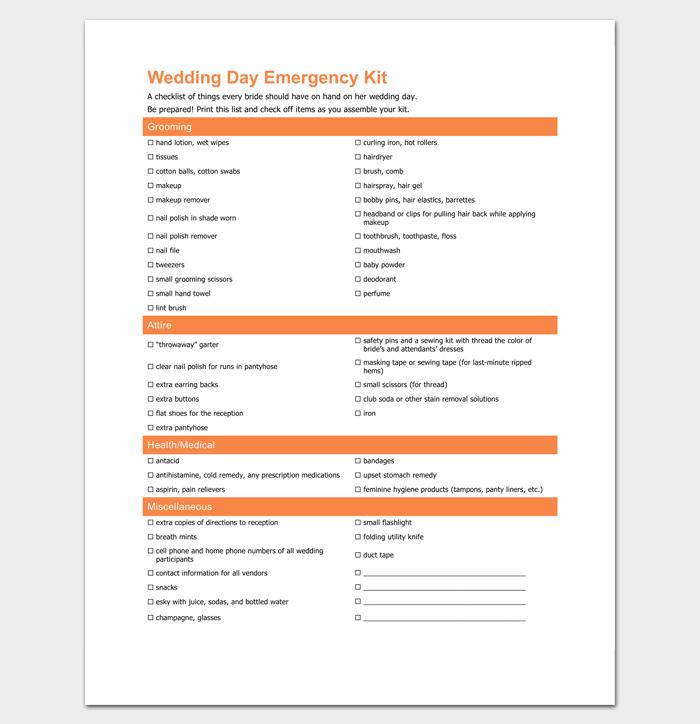 Wedding Day Emergency Kit List Deweddingjpg
