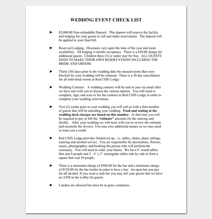 Wedding Event Checklist 1