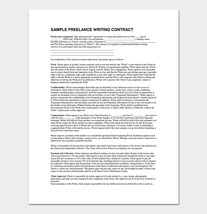 Written Contract Template Legal Business Contracts Templates