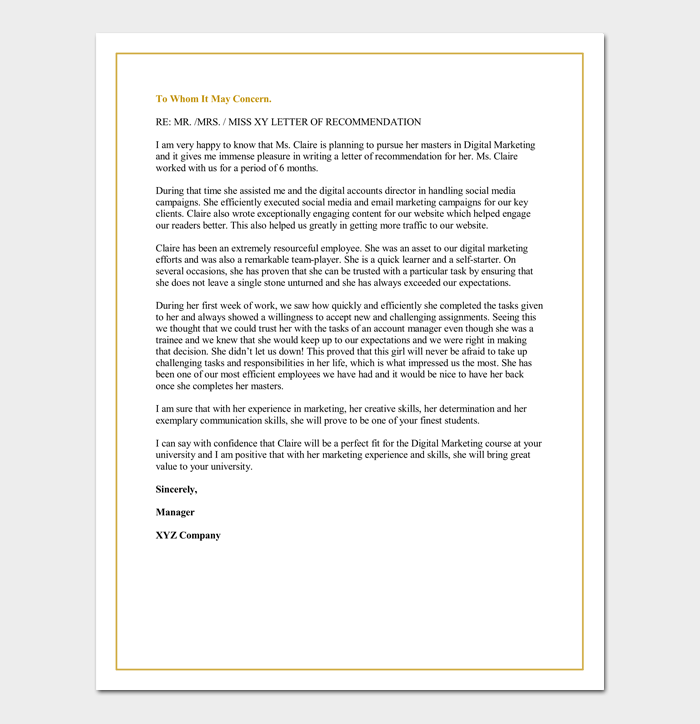 Letter of recommendation for graduate school from a manager