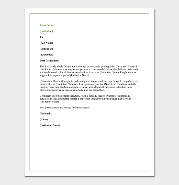 Letter Of Recommendation For A Graduate School 5 Sample Letters