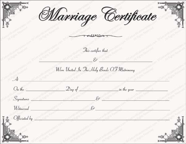 Blank Marriage Certificate
