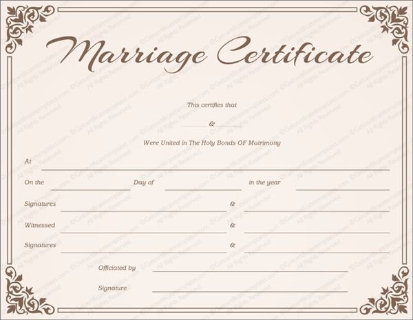 Chocolate Border Marriage Certificate