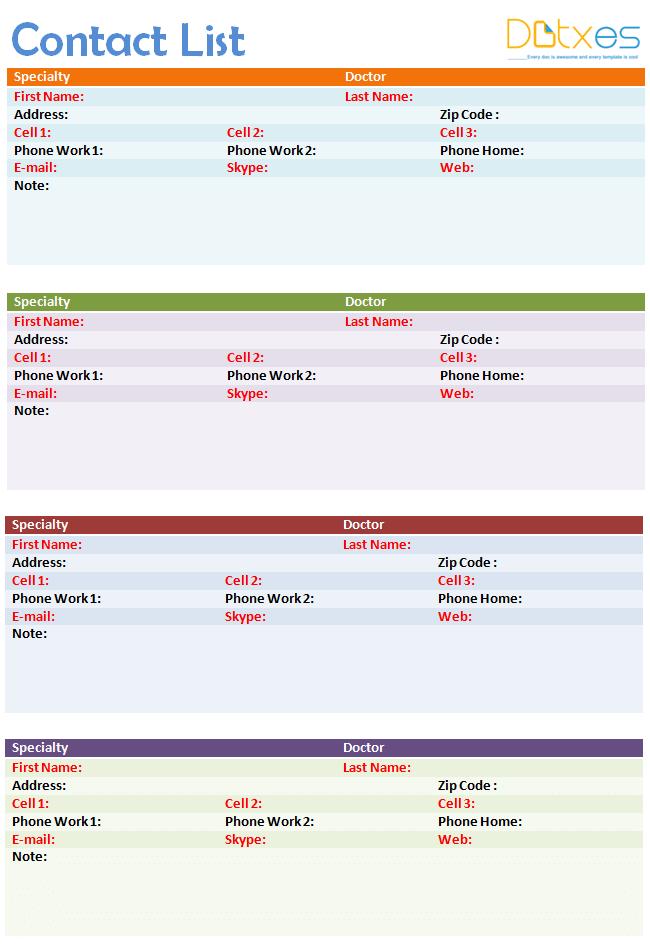 Contact list template (4 per page) - Dotxes
