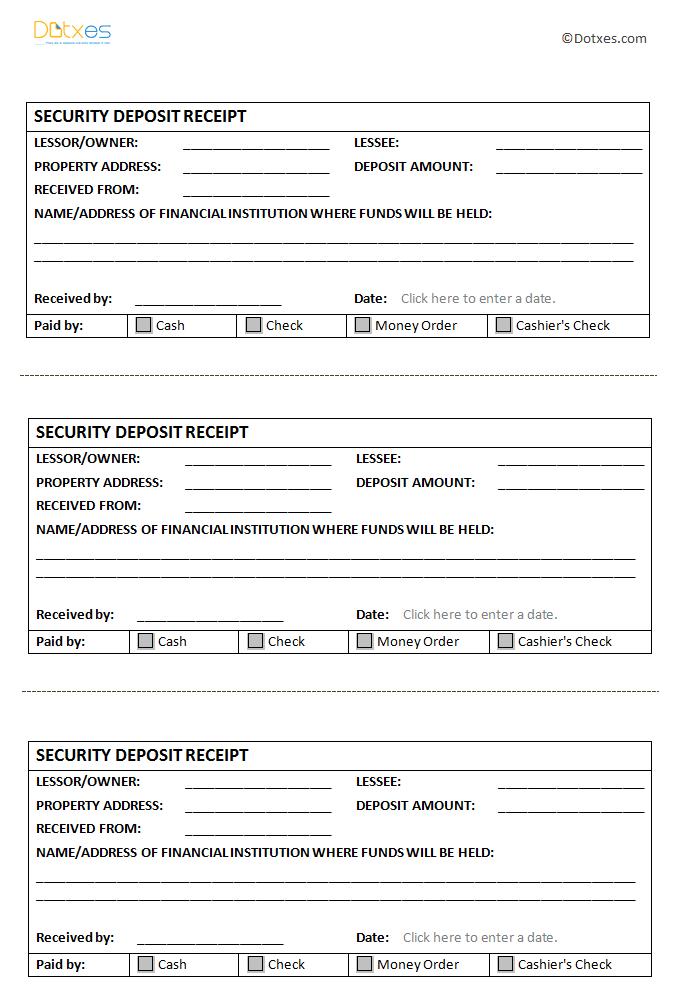 Security Deposit Receipt Template (In Microsoft Word®)