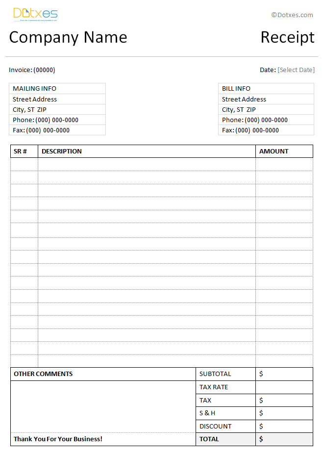 Simple receipt template with a clean format PN