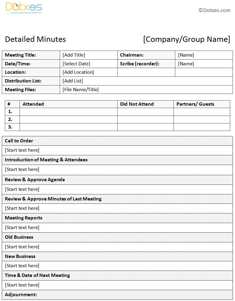 sample of minutes of meeting descriptive format dotxes