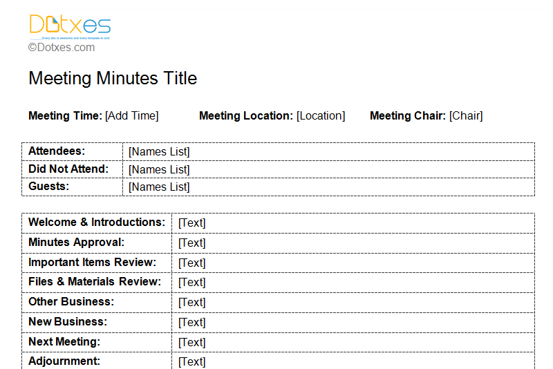 simple minutes of meeting sample format