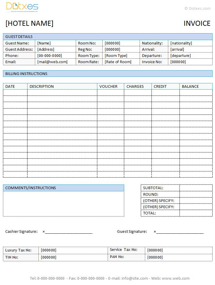 Hotel Invoice Template In Microsoft Word Dotxes