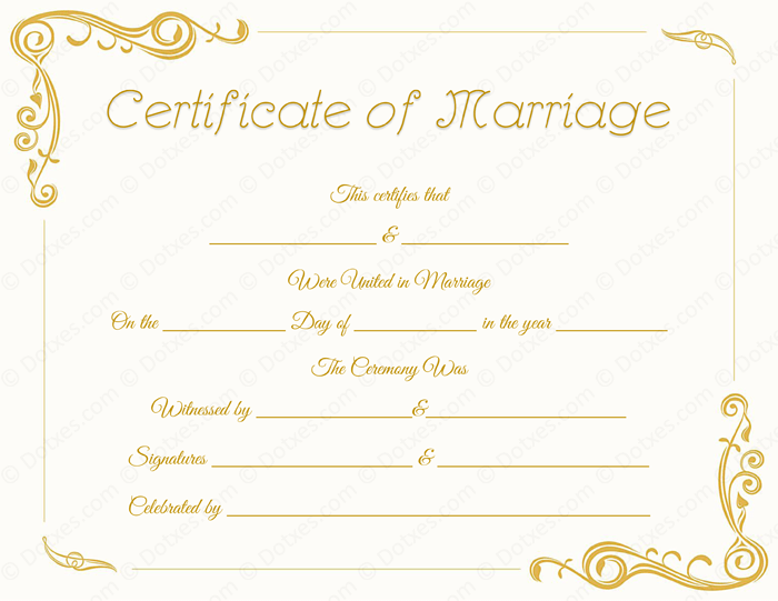 Standard Marriage Certificate Template Dotxes