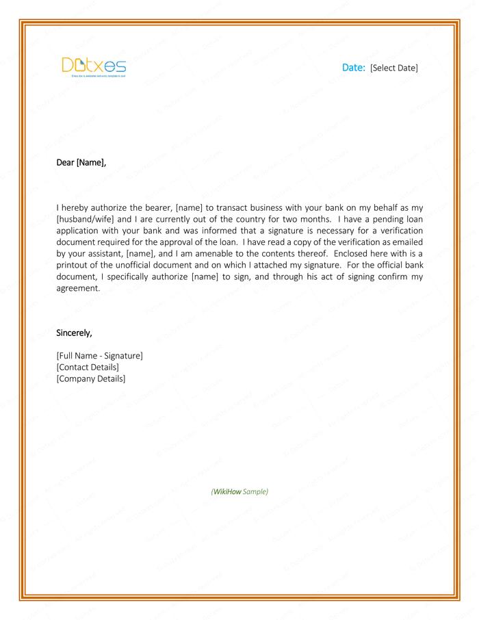 bank mandate letter format