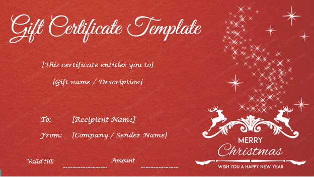 Christmas Certificate Template Template Gift Certificate Template
