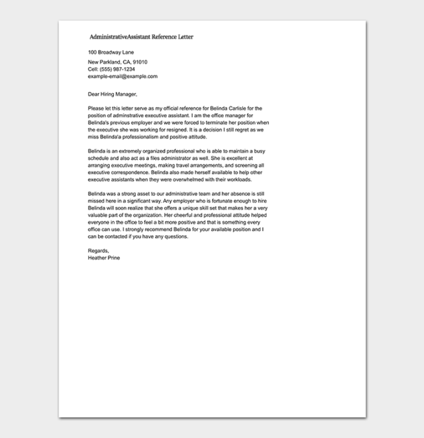 Example of reference letter for administrative assistant howtoviews reference letter template 50 for word pdf format administrative assistant recommendation letter expocarfo Choice Image