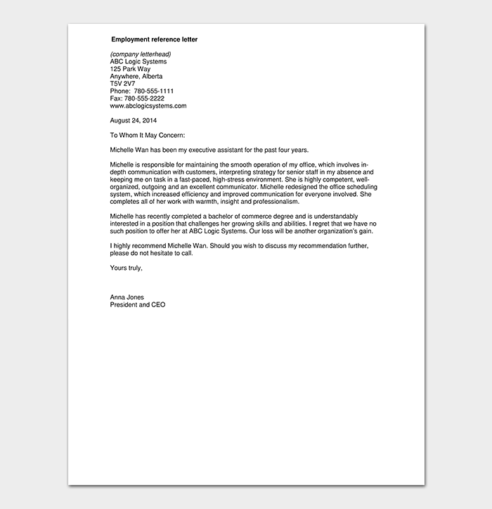 Administrative Reference Letter From Employee