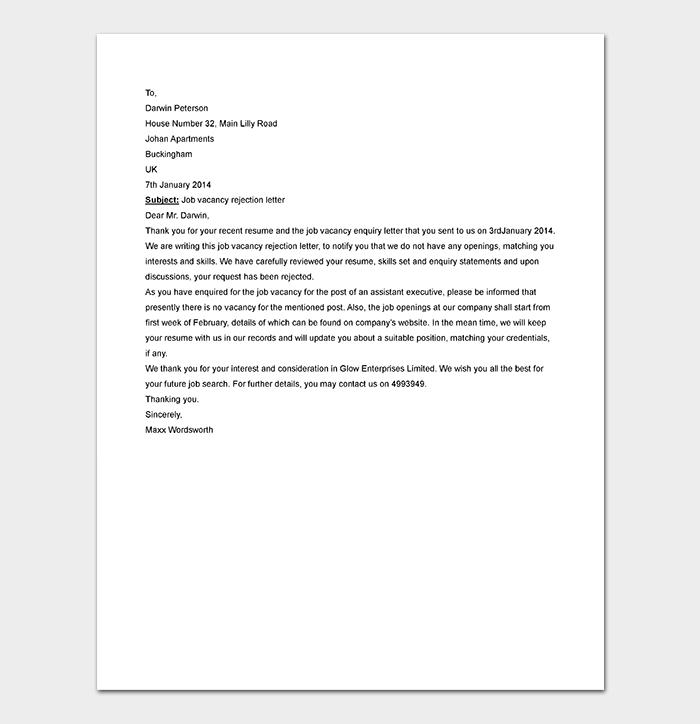 Job Vacancy Rejection